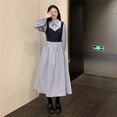 VK精品服飾 韓國風假兩件甜美小清新襯衫裙長袖洋裝