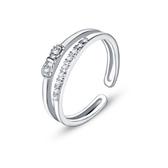 戒指 925純銀 鑲鑽-蝴蝶結設計生日情人節禮物女飾品2色73dx6[時尚巴黎]