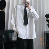 襯衫男士寬鬆翻領長袖純色班服襯衣男生休閒外套【橘社小鎮】