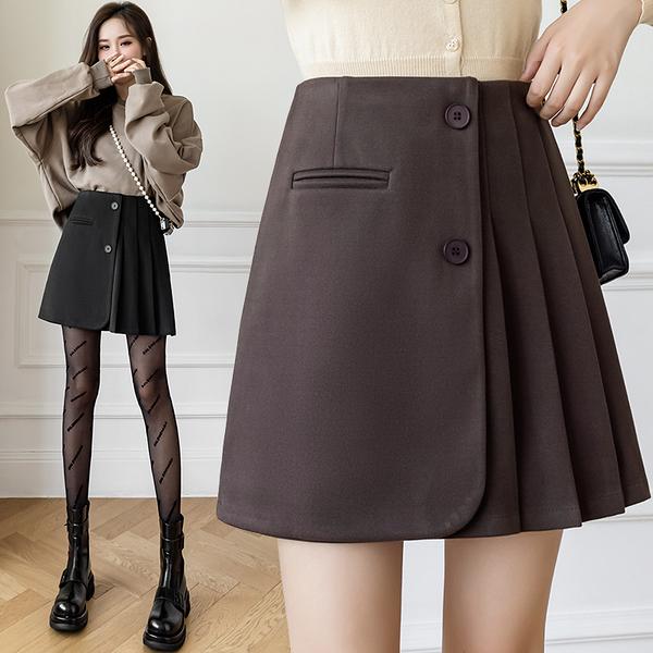 VK旗艦店 韓國風毛呢百褶裙不規則顯瘦a字短裙包臀短裙