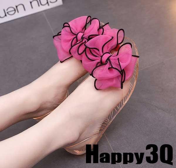 大花朵透明平底涼鞋拖鞋-白/黑/玫紅/藍35-39【AAA0248】預購
