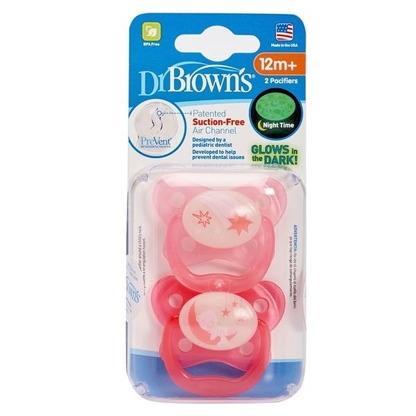美國Dr Brown 布朗博士PreVent功能性夜光安撫奶嘴 粉2入6-12個月