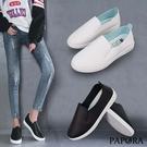 PAPORA輕量一腳蹬休閒鞋K61233黑/白