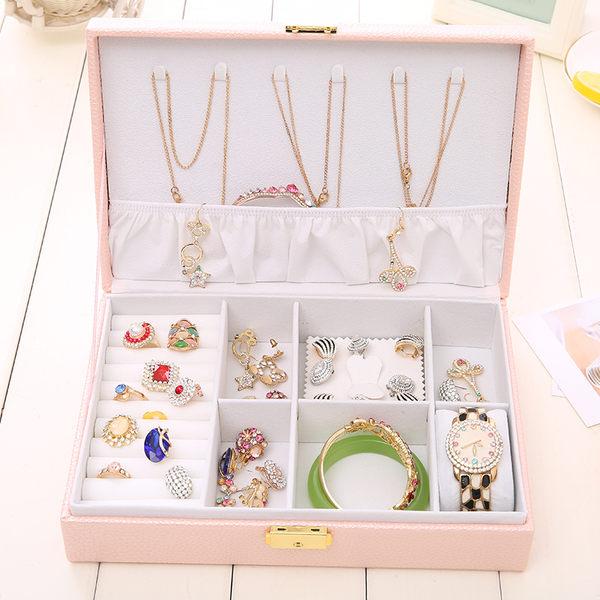 首飾收納盒帶鎖 首飾盒簡約公主歐式裝飾品盒 年尾牙提前購