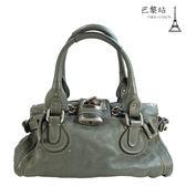 【巴黎站二手名牌專賣店】*現貨*CHLOE 真品*Paddington bag 經典質感真皮鎖頭包(灰藍色)