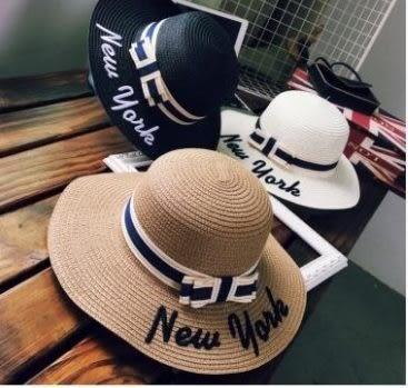 預購-NEW YORK字母大沿草帽蝴蝶結遮陽帽