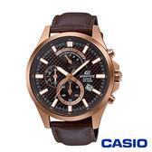CASIO卡西歐 碳纖維格紋三眼皮革男腕錶-咖啡x47mm EFV-530GL-5A
