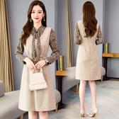 超殺29折 韓系豹紋襯衣針織背心收腰連身裙套裝長袖裙裝