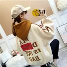 VK精品服飾 韓國風連帽休閒字母寬鬆長袖上衣