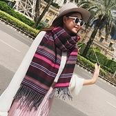 圍巾-仿羊絨彩色條紋拉毛秋冬女披肩3色73ub41【巴黎精品】