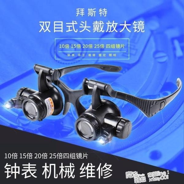 拜斯特雙目頭戴放大鏡10倍15倍20倍25倍眼罩帶LED燈修表古董鑒定 夏季新品