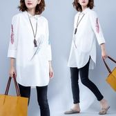 刺繡襯衫女七分袖夏季新款文藝大尺碼中長款翻領顯瘦寬鬆襯衣潮