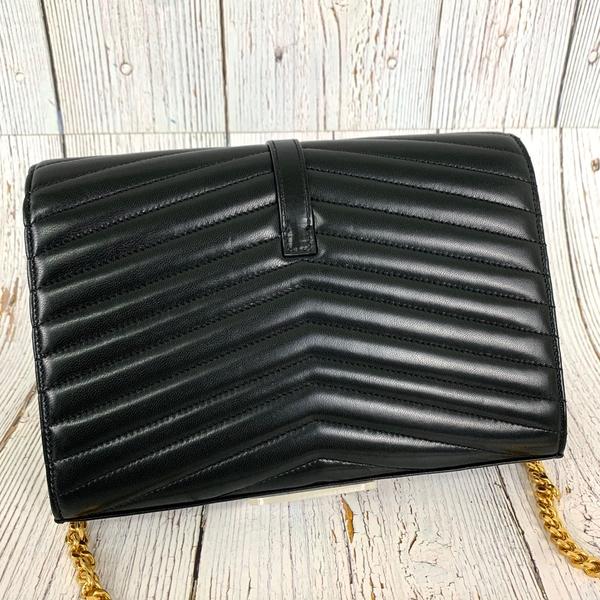 BRAND楓月 SAINT LAURENT YSL 556830 SULPICE 黑色 山形紋 雙蓋 鍊包 肩背包 側背