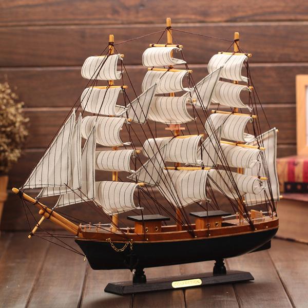 CH130─一帆風順地中海帆船擺件木質工藝品創意畢業禮物送老師同學閨蜜(50CM實木帆船)
