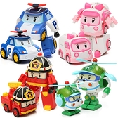 兒童波利警車機器人羅伊消防變形車星珀利警長救援隊套裝玩具男孩