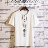 夏季亞麻風短袖t恤男休閒寬鬆男士中國風復古棉麻風v領體恤男裝潮   圖拉斯3C百貨