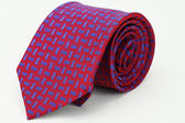 【Alpaca】紅底藍花紋領帶