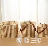 購物籃 竹籃子手提籃帶蓋水果收納籃竹編土雞蛋籃小竹螃蟹包裝籃 FR9934【每日三C】