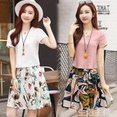 棉麻兩件式洋裝 時尚套裝裙子女學生夏季修身顯瘦氣質印花連身裙 生活主義