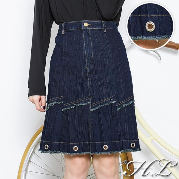 .HL超大尺碼.【16061001】個性層次鬚造型單寧牛仔裙 1色