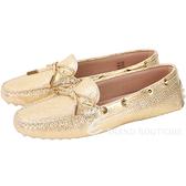TOD'S Heaven Driving 壓紋綁帶豆豆休閒鞋(女鞋/金色) 1720572-B5