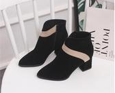 靴子時尚短靴子磨砂皮鞋粗跟高跟尖頭工作鞋氣質女單靴秋