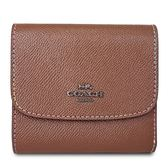 COACH 彩色內襯防刮皮革三折零錢袋短夾-棕色