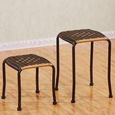 【優選】藤編凳子塑料田園凳小坐凳換鞋凳家用餐椅