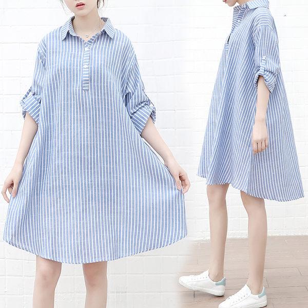 【GZ11】長版襯衫 V領不規則下擺條紋短袖襯衫洋裝