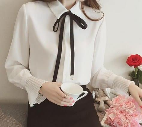 EASON SHOP(GU5555)綁帶繫帶蝴蝶結領帶長袖雪紡白襯衫喇叭袖女上衣服素色白棉T春夏裝韓版寬鬆