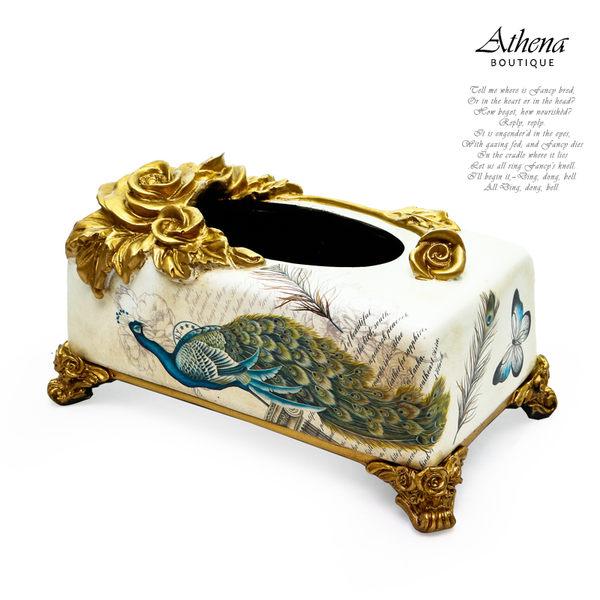 【雅典娜家飾】歐式復古立體玫瑰藍孔雀紙巾盒-EB35