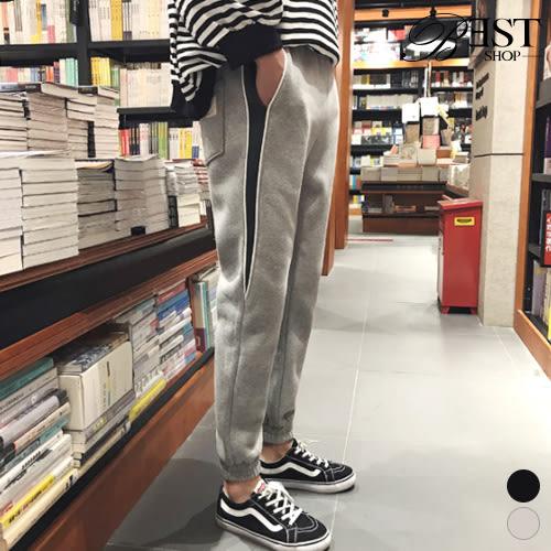縮口褲 棉褲 側口袋插接貼標長褲【S1855701】