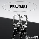 純銀耳環2020年新款潮男士耳釘女生黑色圓圈耳圈單只個性潮人耳飾 樂事館新品
