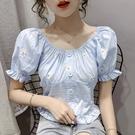 上衣襯衫襯衣一字肩S-XL韓系夏季設計感重工繡花一字領時尚露肩.T327.508皇潮天下