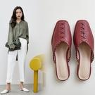 手工真皮女鞋34-39 2020新款歐美時尚頭層牛皮方頭低跟穆勒鞋半拖鞋涼鞋 OL工作鞋 ~3色