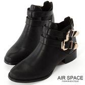 短靴 微龐克金釦繞帶後拉鍊短靴(黑)-AIR SPACE