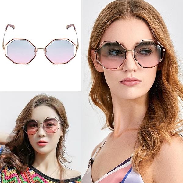 時尚歐美名媛墨鏡 八角型太陽眼鏡 漸層墨鏡 大框顯小臉 抗紫外線UV400