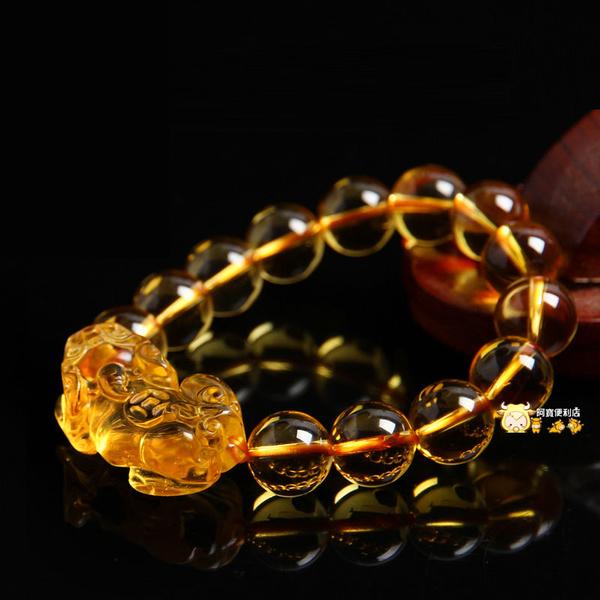 黃水晶 貔貅 貔貅手鏈 黃水晶貔貅 手鏈 招財 開光 貔貅水晶 財 發財 人緣 手環 黃金貔貅 4127