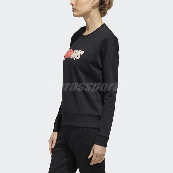 adidas 長袖T恤 Must Haves Graphic Sweatshirt 黑 橘 女款 運動休閒 【ACS】 GF0171