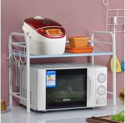 小熊居家家用廚房微波爐架置物架 層架收納架儲物架廚具鍋架微波爐架子  溫馨藍特價