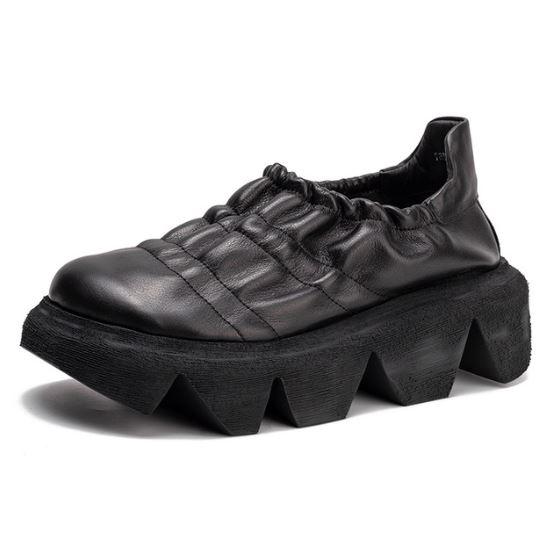 手工真皮女鞋35~40 2020百搭頭層牛皮中跟樂福鞋鞋~2色