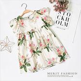 純棉 夏日水彩花朵荷葉袖娃娃洋裝 韓版 可愛 棉麻 連衣裙 連身裙 女童 哎北比童裝
