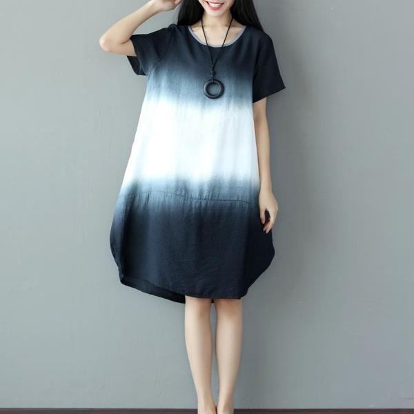 休閒連身裙 夏季新款亞麻裙子文藝復古拼接撞色寬松大碼中長款棉麻短袖連衣裙