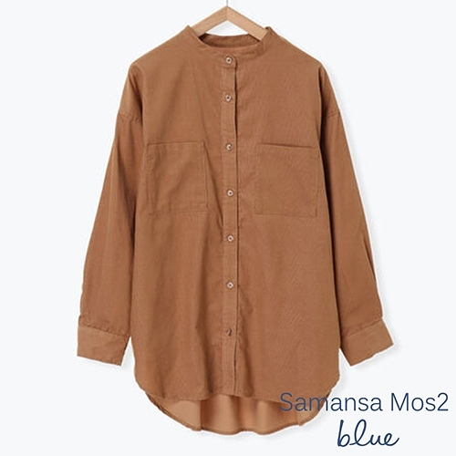 「Autumn」燈芯絨口袋長袖襯衫 - Sm2 BLUE