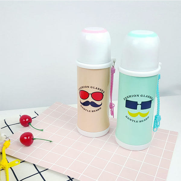 保溫瓶   造型拉鍊時尚保溫瓶400ml  真空不鏽鋼 保溫 對杯 水瓶 【KCW067】-收納女王