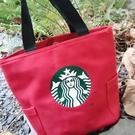 《花花創意会社》外流。星巴巴Starbucks帆布包磁扣側袋皮革加厚款手提包 有兩色【H6858】