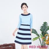RED HOUSE-蕾赫斯-翻領條紋洋裝(淺藍色)