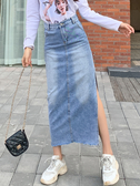 新款牛仔半身裙 女高腰寬松 大碼胖mm 開叉 a字中長款 顯瘦包臀裙
