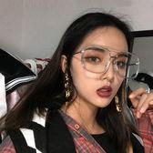 韓版墨鏡女潮網紅同款太陽鏡女墨鏡方形大臉透明眼鏡框架男女 英雄聯盟
