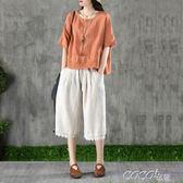 棉麻短袖 娃娃衫女裝夏季寬鬆顯瘦T恤短款文藝棉麻料上衣 coco衣巷